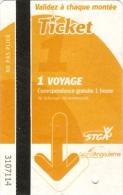 Ticket autobus STGA 1 voyage (22-01-2015) - [Grand Angoul�me - Charente]