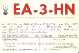 QSL POSTAL DE RADIO AFICIONADO DE JOSE PUJOL EN BARCELONA DEL AÑO 1950 (SELLO DETRÁS) - Tarjetas QSL