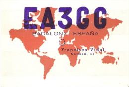 QSL POSTAL DE RADIO AFICIONADO DE FRANCISCO VIDAL EN BADALONA DEL AÑO 1950 - Tarjetas QSL