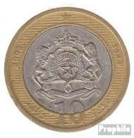 Marokko KM-Nr. : 110 2002 Sehr Schön Bimetall Sehr Schön 2002 10 Dirhams Wappen - Marruecos