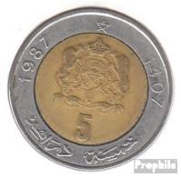 Marokko KM-Nr. : 82 1987 Sehr Schön Bimetall Sehr Schön 1987 5 Dirhams Wappen - Marokko