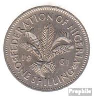Nigeria KM-Nr. : 5 1962 Sehr Schön Kupfer-Nickel Sehr Schön 1962 1 Shilling Elizabeth II. - Nigeria