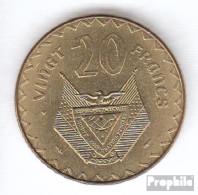 Ruanda 15 1977 Vorzüglich Messing Vorzüglich 1977 20 Francs Kaffeebaum - Rwanda