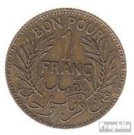 Tunesien KM-Nr. : 247 1921 Sehr Schön Alunimium-Bronze Sehr Schön 1921 1 Franc Datum Im Kranz - Tunesien