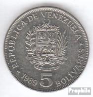 Venezuela KM-Nr. : 53 1989 Typ A.1 Vorzüglich Stahl, Nickel Plattiert Vorzüglich 1989 5 Bolivares Wappen - Venezuela