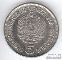 Venezuela KM-Nr. : 53 1989 Typ A.2 Sehr Schön Stahl, Nickel Plattiert Sehr Schön 1989 5 Bolivares Wappen - Venezuela