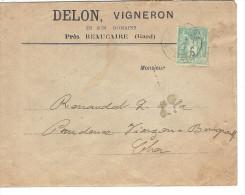 Enveloppe PUBLICITAIRE Marron DELON VIGNERON Près De BEAUCAIRE ( GARD )  Et Son Timbre Type Sage 5 C Vert - 1876-1898 Sage (Type II)