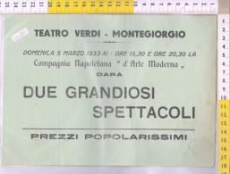 Z40881 MANIFESTO TEATRO COMPAGNIA ARTE MODERNA TEATRO VERDI MONTEGIORGIO 1933 DUE GRANDIOSI SPETTACOLI