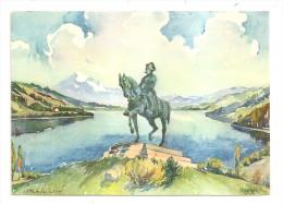Isère - 38 - Laffrey - Sur La Route Napoléon , Statue De L'empereur , Le Grand Lac Et L'obiou , Ed Reymond Grenoble - Laffrey