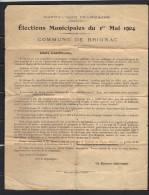 Elections Municipales Du 1er Mai 1904 Commune De BRIGNAC Corrèze - Tract Contre Le Maire Sortant - Documentos Históricos