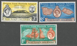 Pitcairn Islands. 1961 Centenary Of Return Of Pitcairn Islanders From Norfolk Island. MH Complete Set. SG 29-31 - Stamps