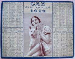 CALENDRIER 1929 GAZ ELECTRICITE - JEUNE FEMME AU CHIEN