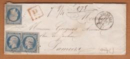 N� 10 PRESIDENCE 25 Centimes X 3 EXEMPLAIRES SUR LETTRE RECOMMANDEE CAD BORDEAUX 21 JANVIER 1854 FILETS INTACTS