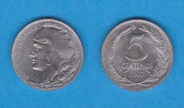 SPAIN / SECOND REPUBLIC Segunda República  (1.931 / 1.939)  5 CÉNTIMOS  1.937  IRON  KM#752  XF-   DL-11.189 - [2] 1931-1939: Zweite Republik