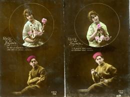 """7110 - Le Zouave Et Sa Belle En Médaillon, Rêve D'amour """"le Bonheur Nous Réunira"""", Cpa Guerre 1914 - Uniformes"""