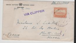 UNO009/ Bedarfsbrief UNO Büro Ecuador Nach Monaco 1946 Via Frankreich Mit Clipper - Ecuador
