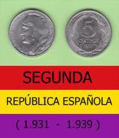 SPAIN / SECOND REPUBLIC Segunda República  (1.931 / 1.939)  5 CÉNTIMOS  1.937  IRON  KM#752  SC/UNC   DL-11.198 - [ 2] 1931-1939 : Republic