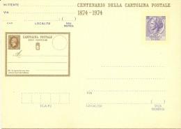 Q-CARTOLINA POSTALE CENTENARIO DELLA CARTOLINA POSTALE 1874-1974 - 1971-80: Storia Postale