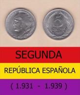 SPAIN / SECOND REPUBLIC Segunda República  (1.931 / 1.939)  5 CÉNTIMOS  1.937  IRON  KM#752  SC/UNC   DL-11.206 - [ 2] 1931-1939 : République