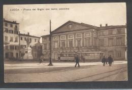 8879-LUCCA-PIAZZA DEL GIGLIO CON TEATRO OMONIMO-1930-ANIMATA-FP - Lucca