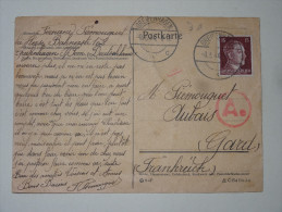 Carte Affranchie Cachet GREIFENHAGEN 1944 Pour Aubais Gard  15d Hitler - 1939-45