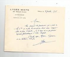 Lettre , école , LYCEE MIXTE De MEAUX , Seine Et Marne , Le Proviseur , 1955 - Invoices & Commercial Documents