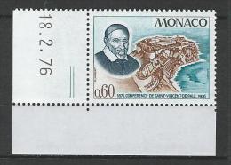 """Monaco YT 1067 """" Conférence Saint-Vincent-de-Paul """" 1976 Neuf** BDF Daté - Mónaco"""