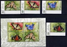 MOLDOVA 2003. 459-462 + BL.28 BUTTERFLY - Butterflies