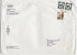 Roma 1.10.1989 - Castello L.100 + L.600 Coppia Su Busta Stampe Estero (3° Porto) Via Aerea. - 6. 1946-.. Repubblica