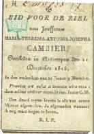Doodsprentje Maria CAMBIER - Overleden Antwerpen 1814 - Kopergravure C. Galle - PERKAMENT ! - Images Religieuses