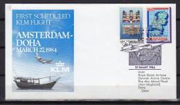First Flight Amsterdam Doha Qatar 1984 LIMITED ISSUE (z42) - Qatar