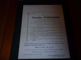 A-1-1 LC108 Lettre De Mort Ernestine PATERNOSTER BAUWELINCKX FIEVET MUSCH DASSELEER St Pierre Capelle 1854 1954 - Décès