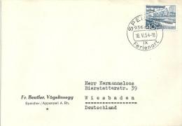 """Motiv Brief   """"Beutler, Vögelinsegg, Speicher""""            1954 - Suisse"""
