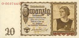 Deutschland, Germany - 20 Reichsmark, Ro. 178 A , ( Serie O ) 1939 ! - 20 Reichsmark