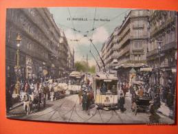 CPA Marseille (13) - Rue Noailles 1907 - (Animée, Tramway, Calèches ...) - Marseille