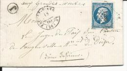 27 (26) Fleury-S;-Andelle N°14 Oblit. PC 1289 T15 Pour Longueville / Les Grandes Ventes 1860 Facteur Boitier J - Postmark Collection (Covers)