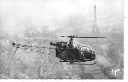 HELICOPTERE - L'ALOUETTE II Survolant Paris - Hélicoptères
