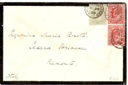 LETTERA AFFRANCATA ONE PENNY COPPIA + HALF PENNY - Lettres & Documents