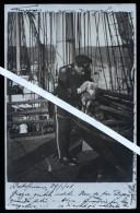 PORTOFERRAIO - LIVORNO - FOTOCARTOLINA DEL 1905 CON VELIERO, UFFICIALE DI MARINA E PECORELLA . - Sailing Vessels