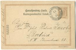 Roth-Kosteletz Cerveny-Kostelec 1898 Auf Correspondenz-Karte Nach Berlin - Stamped Stationery