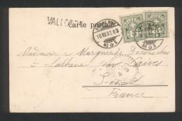 Suisse - Cachet Ambulant Du 18 Aôût 1902 Sur 2 Timbres 5c Vert - Griffe Linéaire De Vallorbe - Marcophilie (Lettres)