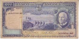 "ANGOLA  1000 Escudos  BANKNOTE  "" Americo Tomas At Left ""   P96  10.6.1962 - Angola"