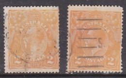 Australia George V,  Kings Head, 1920 1921, 2d, Brown Orange; 2d Dull Orange;   Used, - 1913-36 George V : Heads