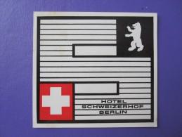 HOTEL PENSION MOTEL SCHEIZERHOF BERLIN GERMANY DEUTSCHLAND TAG DECAL LUGGAGE LABEL ETIQUETTE AUFKLEBER - Hotel Labels