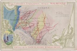 CPA,PLAN,MAP ,carte De La MAURITANIE EN 1910,ex Colonie Française,prés Algérie,édition Chocolaterie Aiguebelle,rare - Mauritania