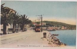 Carte Postale Ancienne,83,var,TOULON,EN 1910,MOURILLON,MER,TRAMWA Y,PALMIER,ETE - Toulon