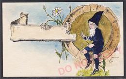 Carte Postale Litho Cpa Aquarelle Peinte Signée Lutin Gnome Harpe Illustrateur Style Hans Starcke - Ilustradores & Fotógrafos