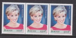 V] Triptyque ** Se-tenant Burundi Lady Diana Lady Di 2007 Princesse Princess Faimme Royale Royal Family - Burundi
