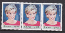 V] Triptyque ** Se-tenant Burundi Lady Diana Lady Di 2007 Princesse Princess Faimme Royale Royal Family