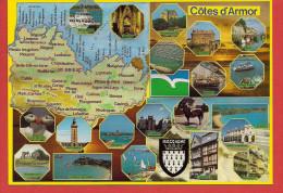 22 - Carte Contour Géographique Du Département Des COTES D'ARMOR - Cartes Géographiques